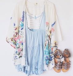 Baby blue dress with floral top thingy (lol I can't think of what it's called)