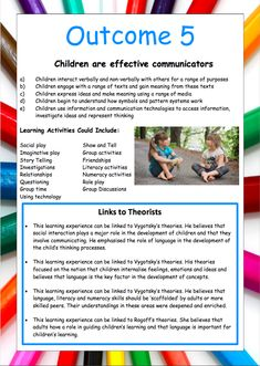 This set of 5 EYLF posters are beautiful to display on walls, in portfolios and in programs.They contain the outcomes, activities and links to relevant theorists. Eylf Learning Outcomes, Learning Resources, Play Based Learning, Early Learning, Early Years Framework, Learning Stories Examples, Family Day Care, Early Education, Early Childhood Education Programs