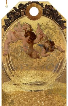 Printables Cherubs Gold Grunge Digital Download Gift Tag Card Tags, Gift Tags, Ribbon Holders, Christmas Scrapbook, Cherubs, Vintage Tags, Printing Labels, Collage Sheet, Note Cards