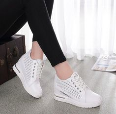 Women lace up hiden heel breathable summer muffin shoes sport hollow sneaker V51