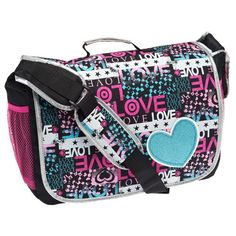430c2d1d8678 Accessories 22 Girls  Love Patch Full Size Messenger Bag Patches