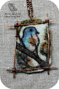 #landscape_pendant #Birds  #Felted_pendant  #Boho_style  #Hand-made by #MarinaDyachenko_on_Etsy