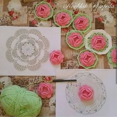 Pretty crochet rose  - free charted pattern #güllümotif