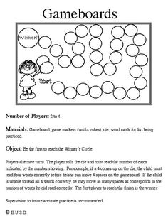Great site, tons of games to make. Use HM high frequency, spelling words, or any… Kit Games, Class Games, School Games, School Fun, Board Game Template, Printable Board Games, Free Printable, School Classroom, Classroom Activities