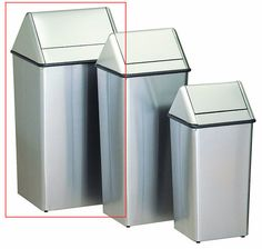 36 Gallon Metal Stainless Steel Swing Top Waste Receptacle 1511HTSS - outdoor & indoor trash cans, recycle bins, & ashtrays for commercial, office or home.