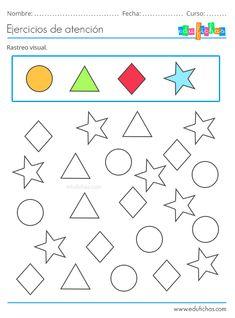 Fichas de Atención para Niños. Estimulación Cognitiva. Descargar PDF. Worksheets For Playgroup, Preschool Learning Activities, Preschool Lessons, Infant Activities, Preschool Activities, Kids Learning, Kindergarten Colors, Kindergarten Math, Indoor Games For Toddlers