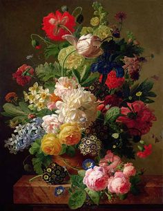 Jan Frans van Dael-Flowers in a vase on a marble console table