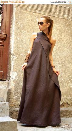 9fbb80c3737d XXL,XXXL New Maxi Brown Dress   Kaftan Linen Dress   One Shoulder Dress    Extravagant Long Dress   Party Dress by AAKASHA A03144