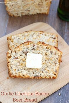 Garlic Cheddar Bacon Beer Bread. A delicious and easy beer bread with the addition of bacon, cheddar cheese, and garlic.