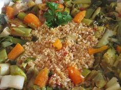 The gastrin: ΠΡΑΣΑ ΜΕ ΠΛΙΓΟΥΡΙ ΚΑΙ ΡΥΖΙ Orzo, Appetisers, Greek Recipes, Fried Rice, Fries, Healthy Eating, Vegetables, Ethnic Recipes, Dinners