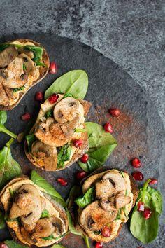Vegan Mushroom Crostini with Harissa Hummus
