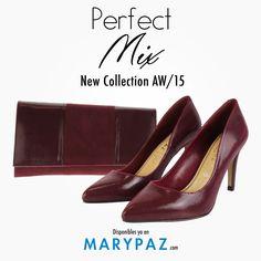 ¿ Aún no tienes el conjunto perfecto para estos días ?  Consigue el ansiado Perfect Mix de la mano de MARYPAZ <3 <3 <3   ¡ Hay muchas combinaciones de zapato + bolso !  BOLSO ► http://www.marypaz.com/tienda-online/salon-de-punta-fina-48148.html?sku=72539-35   STILETTO ►  http://www.marypaz.com/tienda-online/bolso-cartera-de-mano-de-doble-textura-47601.html?sku=73238-00