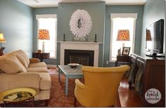 Love the yellow chair | The Bold Abode Family Room