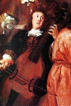 """Виолончель в произведениях искусства. Нидерландский художник Йоханесс Ворхаут """"Музыкальный вечер"""" 1674 г. На картине с виолой до гамба (предшественницей виолончели) изображен Ди́трих Букстеху́де. Это единственное сохранившееся изображение датского-немецкого органиста, бывшего одним из наиболее известных композиторов эпохи барокко. Его произведения для органа по сей день составляют существенную часть традиционного органного репертуара."""