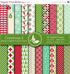 50% off Christmas 5 Mega Paper Pack  20 Printable by SheryKDesigns