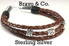 Sterling Silver & Braided Leather Wristband Men Bracelet.