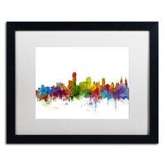 """Trademark Art """"Adelaide Australia Skyline II"""" by Michael Tompsett Framed Graphic Art Size: 16"""" H x 20"""" W x 0.5"""" D"""