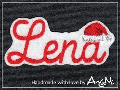 Aufnäher Wunschname Weihnachten Name x-mas Mütze von AnCaNi auf DaWanda.com
