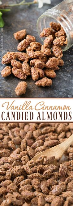 Vanilla Cinnamon Candied Almonds Sweet, crunchy, roasted candied almonds coated in a mouthwatering vanilla and cinnamon crust! Nut Recipes, Dessert Recipes, Cooking Recipes, Snack Recipes, Almond Recipes, Holiday Baking, Christmas Baking, Christmas Candy Gifts, Candied Almonds