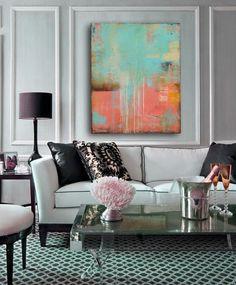 Kolorowa abstrakcja w eleganckim salonie