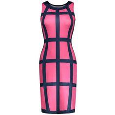 Color Block Sleeveless Round Neck Bodycon Dress