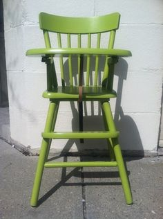Vintage Wooden Child/toddler Feeding High Chair Refinished