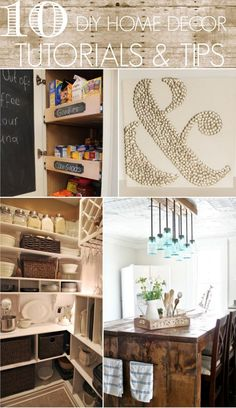 Love this site!  10 DIY Home Decor Tutorials  Tips from bloggers. Love the ampersand thumb tack art.