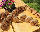 RESERVED 18 rustic Wedding Log Table Numbers Ash Wood Bark Country Wedding Decor. $108.00, via Etsy.