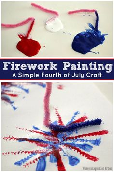 Use pipe cleaners and paint to make fireworks! This pipe cleaner painting is a perfect Fourth of July craft for kids! Great art project for New Years too!