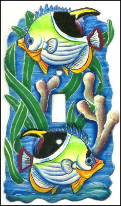 Tropical Fish Hand Painted Metal Light Cover Switch Plate - See more at www.SwitchPlateDecor.com