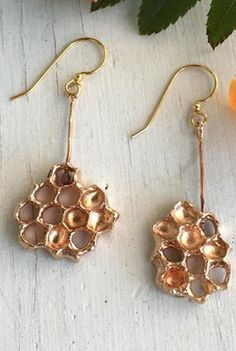 Gorgeous honeycomb earrings. I adore these.