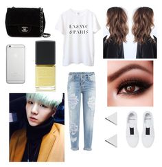 """""""Date with Yoongi"""" by bts-outfit-imagines ❤ liked on Polyvore featuring Pierre Hardy, Native Union, Dsquared2, Jennifer Meyer Jewelry, Chanel and SHADE Collection"""