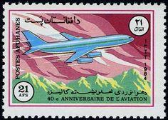 Stamp: Ilyushin IL-86 (Afghanistan) (40th anniv of National Aviation) Mi:AF 1359,Sn:AF 1096 #colnect #collection #stamps