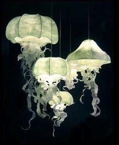 Paper sculpture lighting - Jellyfish. Artist Geraldine Gonzalez.