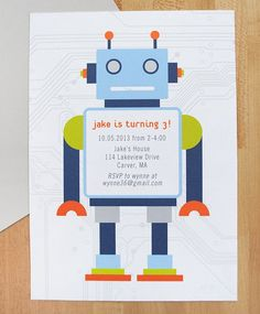 Robot birthday invitations, robot birthday party, birthday invitations for boys, modern birthday invitation, DIGITAL FILE Robot Invitations birthday party DIGITAL FILE by AlmostSundayInc 3rd Birthday Party For Boy, Mermaid Birthday, Birthday Ideas, Robot Theme, Boy Birthday Invitations, Invites, Personalized Note Cards, First Birthdays, Robot Cake