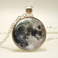 Full Moon Necklace Glass Photo Pendant Charm Space by rainnua