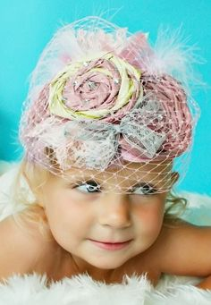 @Molly Sauro-Willams thought you might like this idea & headpiece!!  Headband Infant Veil Pink Silk and Crystal Decades 1940s The Roxie.