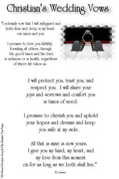 Christian Grey's wedding vows from the third book of the trilogy, Fifty Shades Freed. Wedding Vows That Make You Cry, Wedding Vows To Husband, Do It Yourself Wedding, Mr Mrs, Emerson, Christian Wedding Vows, Future Mrs, Future Husband, Christian Friends