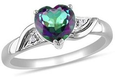 $159 Heart-Shaped Mystic Fire Topaz and Diamond Accent Ring in 10K White Gold at Zales- ideal!