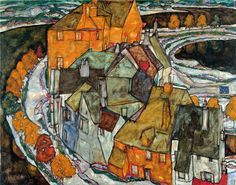 Egon Schiele, Crescent of Houses II, Island Town, 1915 on ArtStack #egon-schiele #art