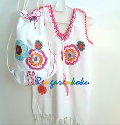 çocuk peştemal çanta ve plaj elbisesi