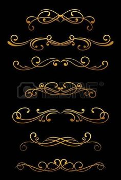 Vintage ornamental borders and dividers set for retro design photo
