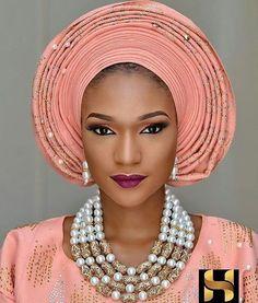 "10.3k Likes, 37 Comments - Africa's Top Wedding Website (@bellanaijaweddings) on Instagram: ""Peach perfect  Makeup: @harynola Gele: @tboygele Aso Oke and Beads: @ariesbeadnasooke…"""