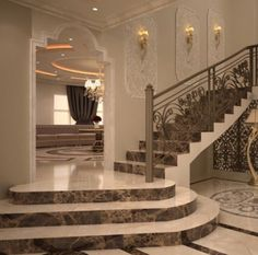 Staircase Railing Design, Home Stairs Design, Home Room Design, Home Interior Design, Bungalow Haus Design, Tiny House Design, Modern House Design, Luxury Rooms, Luxury Home Decor
