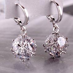 c3498410c Crystal Cube Dangling Charm Earrings. White EarringsGold Plated EarringsCrystal  EarringsStatement EarringsWomen's EarringsDiamond ...