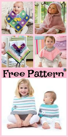 Crochet Baby Poncho - Free Pattern This crochet baby poncho is very colorful and pretty! It will keep your adorable little baby warm, and it also will make them look so precious and adorable! Crochet Baby Poncho, Crochet Scarves, Baby Knitting, Crochet Hats, Crochet Dresses, Crochet Blankets, Loom Knitting, Baby Patterns, Knitting Patterns Free