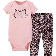 Child of Mine by Carter's Newborn Baby Girl Bodysuit and Pant Outfit Set 2 Pieces - Walmart.com