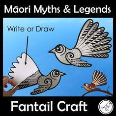 Māori Myths and Legends - Fantail Craft Cutting Activities, Art Activities For Kids, Art Lessons For Kids, Art For Kids, Legends For Kids, Maori Legends, Waitangi Day, Birds For Kids, Bird Template