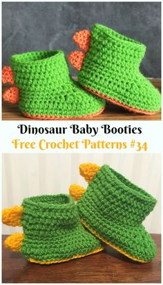 Dinosaur Baby Booties Crochet Free Pattern - Ankle High Baby Free Patterns Crochet Ankle High Baby Booties Free Patterns with Instructions: Keep baby feet in style and warmth with these baby booties/boots, holiday gift ideas. Crochet Boots Pattern, Baby Booties Free Pattern, Crochet Baby Boots, Crochet Toddler, Booties Crochet, Crochet For Boys, Crochet Slippers, Crochet Patterns, Crochet Dinosaur Pattern Free