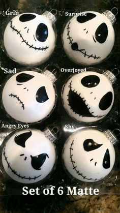 12 Jack Skellington Faces Inspired Ornaments Plus Diy Halloween, Adornos Halloween, Manualidades Halloween, Halloween Trees, Holidays Halloween, Halloween Decorations, Halloween Before Christmas, Disney Christmas, Holiday Fun